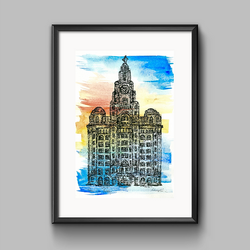 Liver Building Sunrise Print