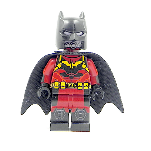 Batman Flame minifigure Custom - print on LEGO parts - Red suit Justice Fire