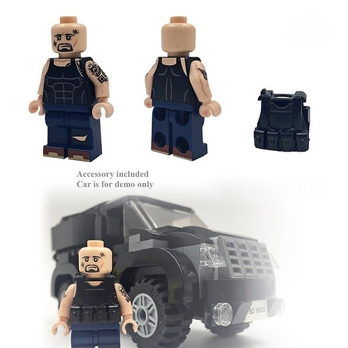 Custom brik minifigure Fast & Furious 8 Johnson Hobbs Racer