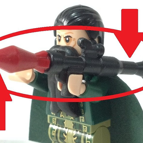 Custom black RPG w RED ROCKET launcher terrorist military army Weapon for fig