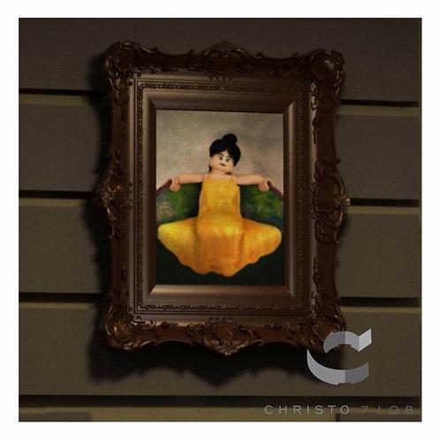 Christo Custom Fine Art Brick Painting - Brick Chick in Yellow Dress Painting -
