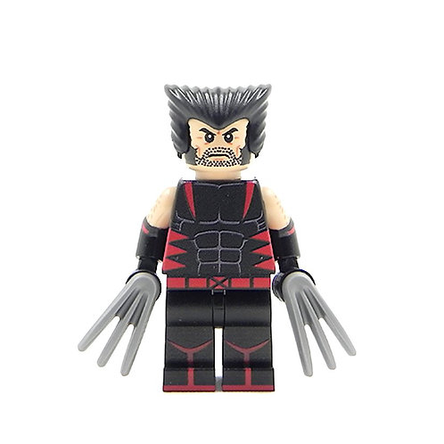 Custom X-Men Wolverine - Lego minifigure Logan Unmasked Black / Red Suit Legend