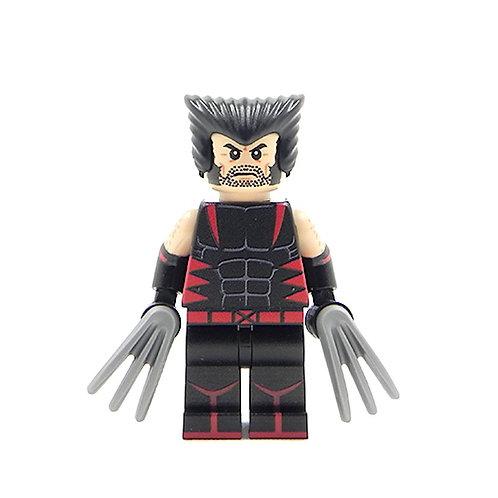 Custom X-Men Wolverine - Lego minifigure Logan Unmasked Black / Red Suit Legend