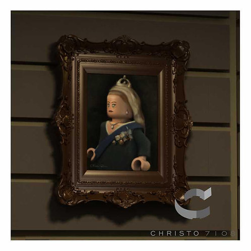 Christo Custom Fine Art Brick Painting - Queen Bricktoria Painting - LIMITED