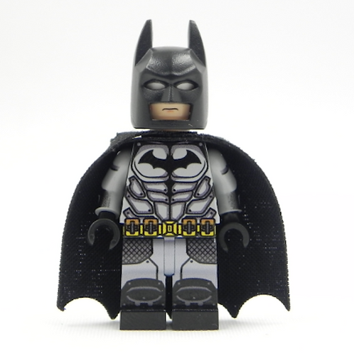 Batman ArKham City Lego Superhero Custom minifigure LEGO light grey DC Justice