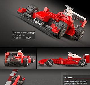 Lego Pre- Built fig F1 MOC car vehicle 5867 Creator discontinue remade Ferrari