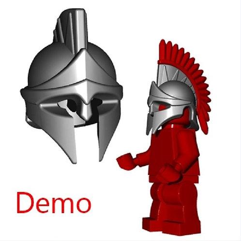 Custom Steel Spartan Helmet on brik HOBBIT Castle Rohan 300 Troy Greek Warrior