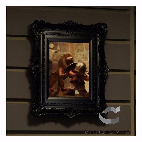 Christo Custom Fine Art Brick Painting - Minifig Versus Lion Painting - LIMITED