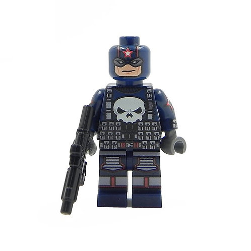Punisher Captain America Costume - Custom printed on Lego parts w weapon
