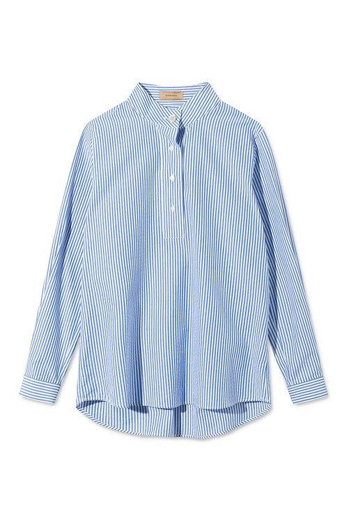 Rue de Tokyo Sera Seersucker Blue White Shirt