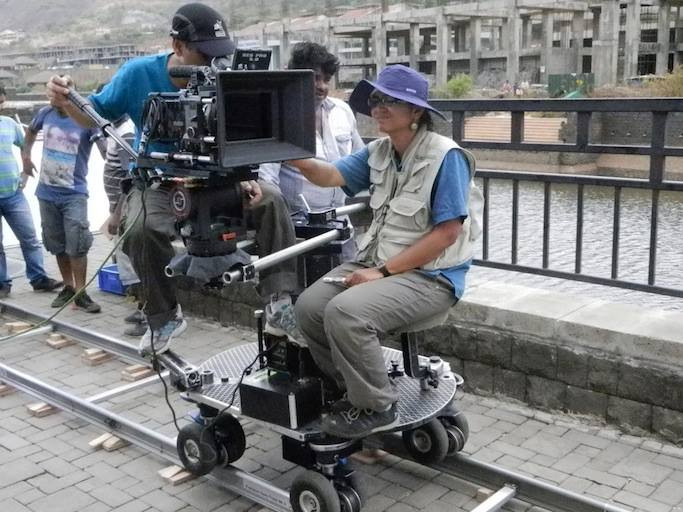 Panther dolly in action - Cinematographer Sachin Singh - Grips - Lavasa - Advertisement