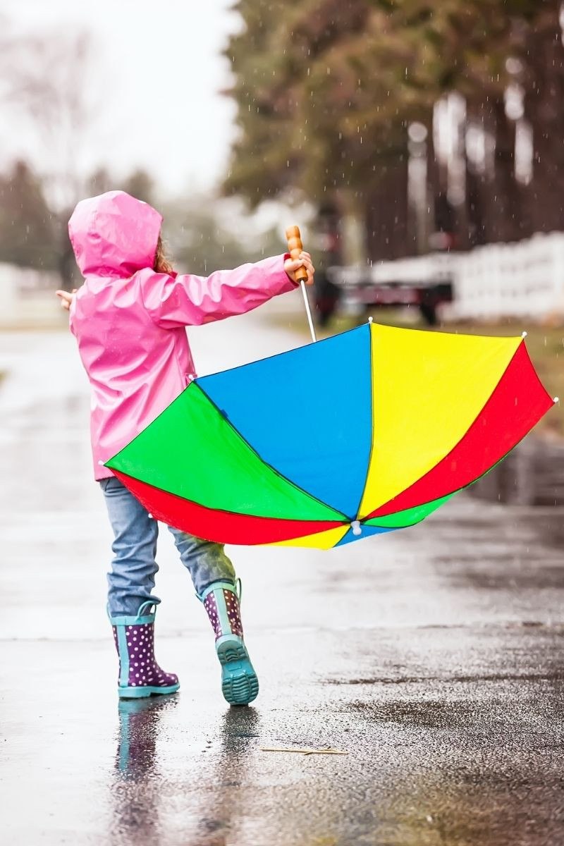 Girl with colorful umbrella dancing in rain from Canva