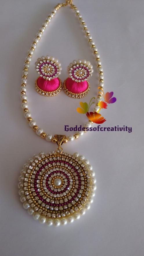 5244d8331 Pink Designer Quilling Silk Thread Necklace Set-SGCE02