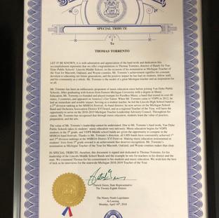 Michigan Region 9 - Teacher of the Year - House of Rep Tribute