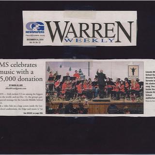 Mr. Hollands Award - Warren Weekly