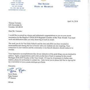 Michigan Region 9 - Teacher of the Year - State Senate Recognition