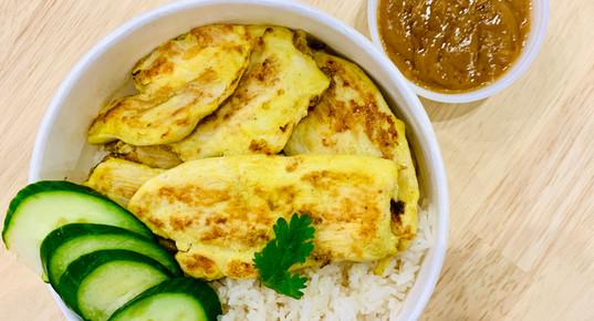 Chicken Satay Over Rice