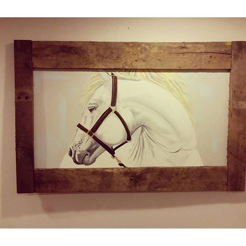 beautiful large horse painted with oil on canvas with a custom barn wood frame