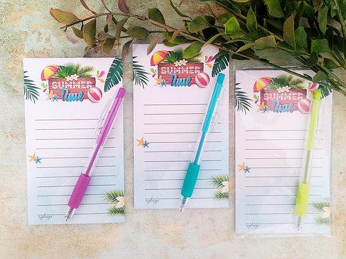פנקס רשימות איכותי לקיץ עם עטים צבעוניים מגוונים