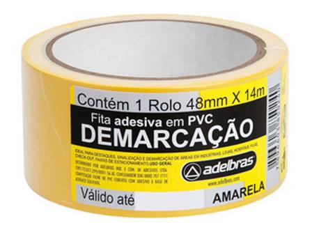 Fita adesiva demarcação solo 48mmx14m amarela Adelbras