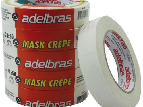 Fita Adesiva Crepe 24x50 Adelbras - Pct c/5