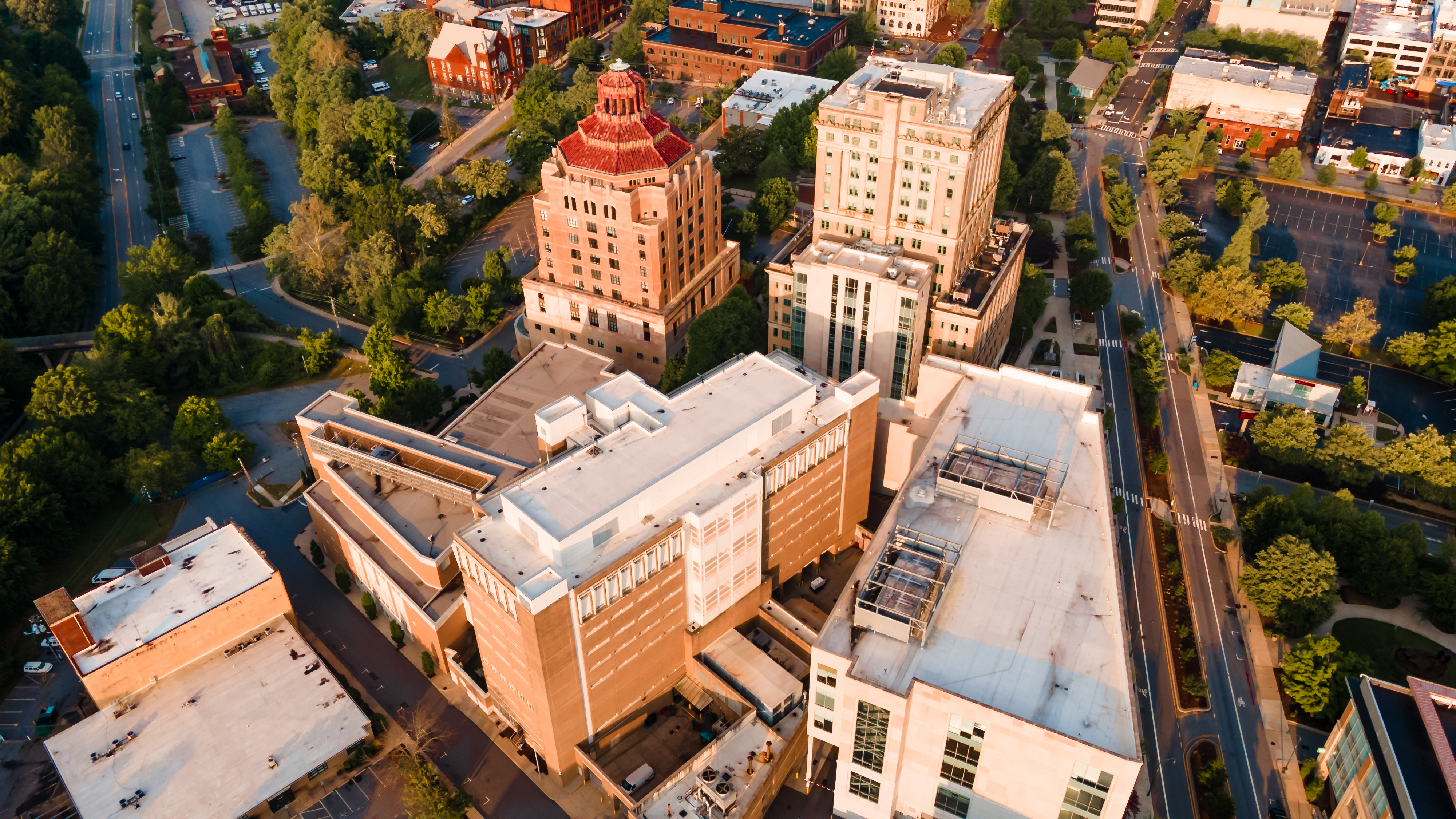 Aerial of Downtown Ashville