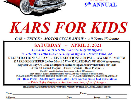 9th Annual Kars for Kids - 3 April 2021