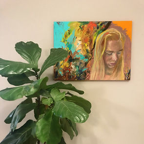 Trying to Get in a Good Headspace oil painting by Emma van den Akker abstract art portrait art home decor