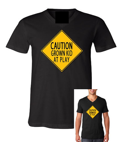 Caution Grown Kid At Play V-Neck