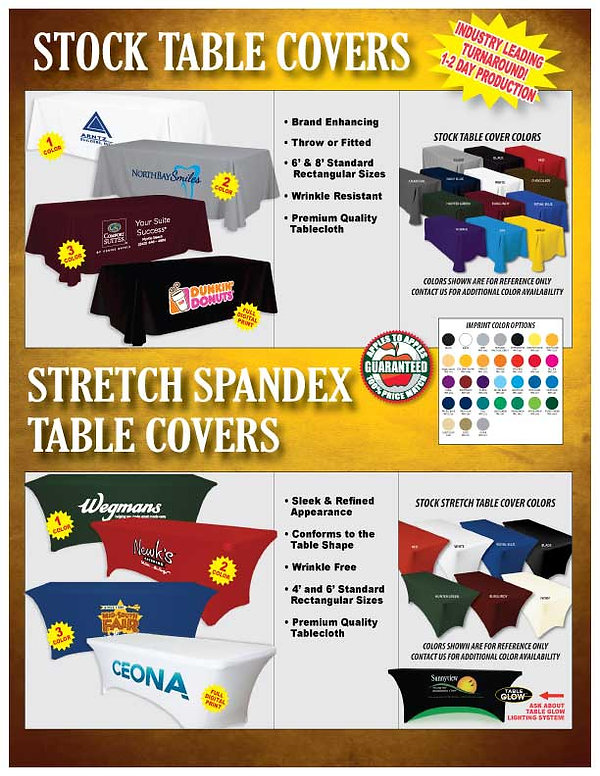 Custom Stock and Stretch Spandex Table Covers/Cloths