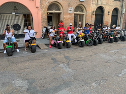 Group outing riding electric cycles