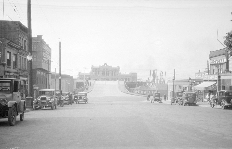 View of Canadian National Steamship wharf under construction at the foot of Main St.