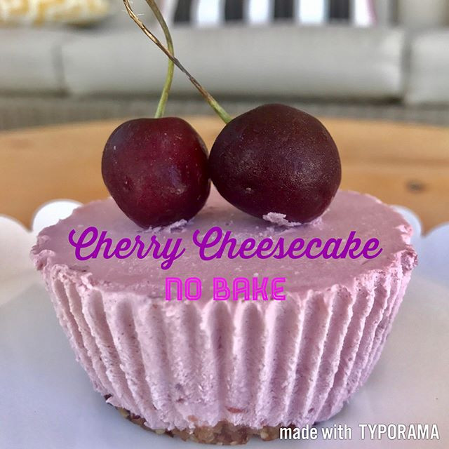 Healthy! No Bake, cherry mini cheesecake