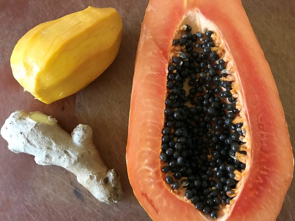 papaya,mango,ginger