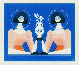 花瓶をもつ双子