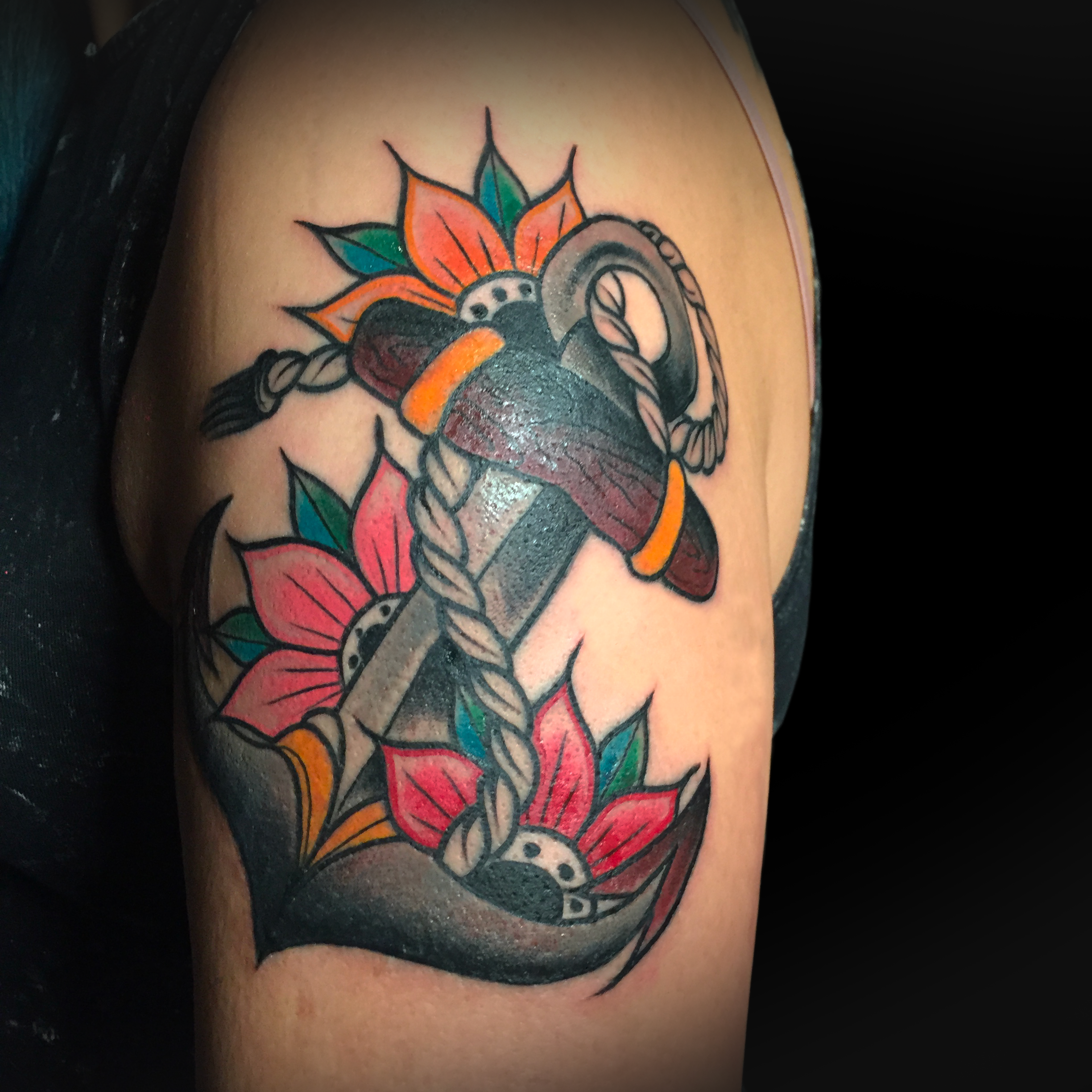 Traditional Anchor with flowers