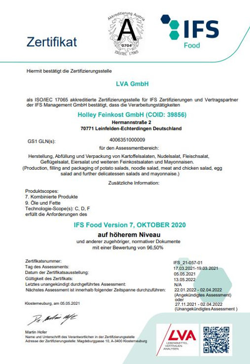 IFS Zertifikat Holley Feinkost GmbH gült