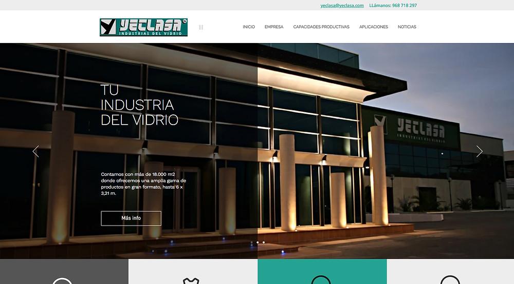 Pantalla web inicial de YECLASA