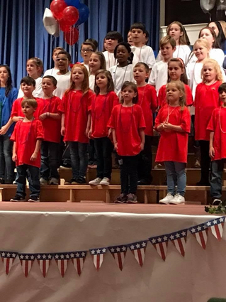 The music class learned patriotic songs for the Veterans Day Program.