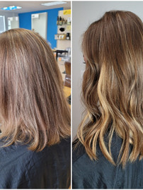 Hair extensions before & after