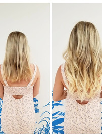 Hair extension before & after