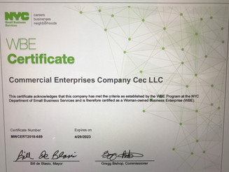 We are exited to announce that we got the WBE Certificate