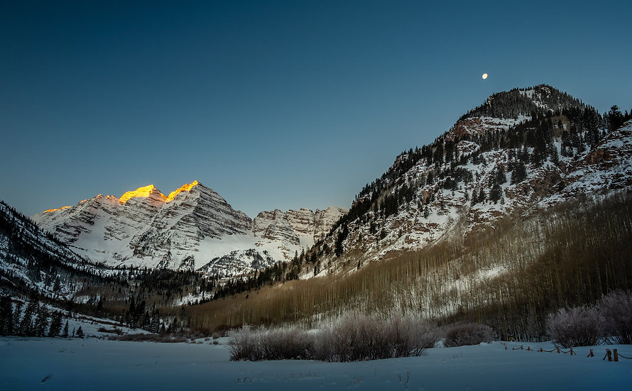 Maroon Bells and Moon - Aspen