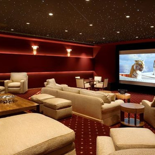 Home Theater Ideas In Red And Cream