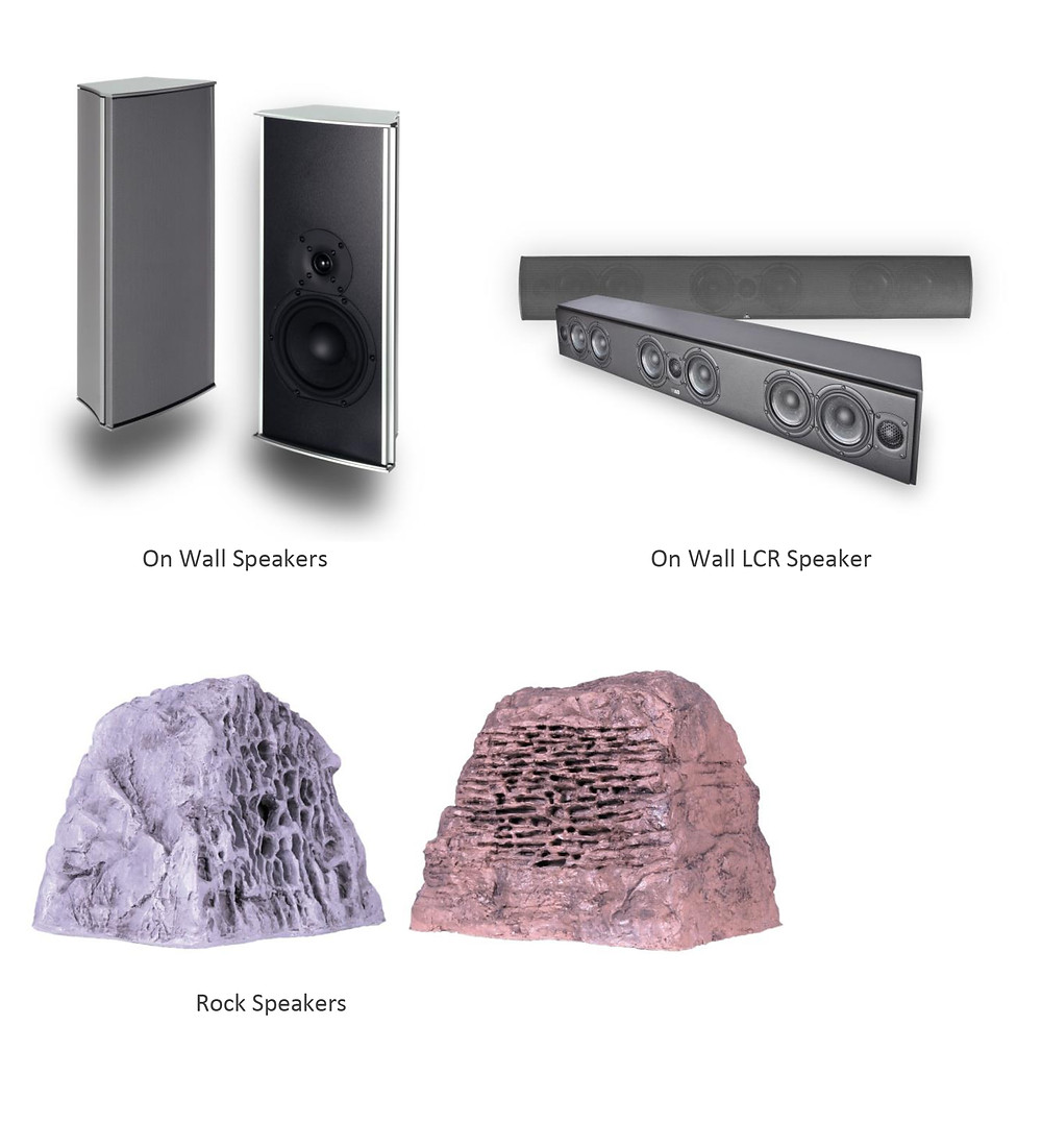 Examples of On Wall and Rock Speakers
