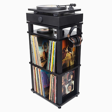 Black Rack For Turntable With Speakers.j
