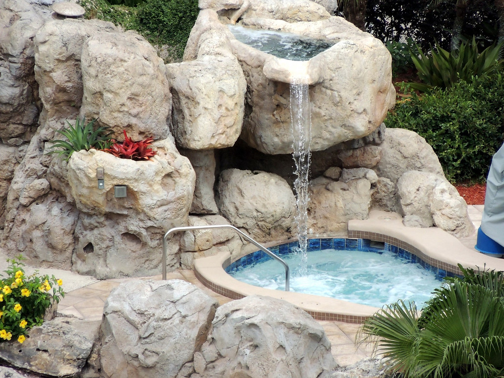 Pool Waterfall with outdoor speakers