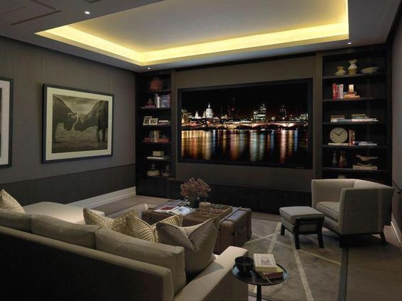 Home Theater Ideas With Book Cases