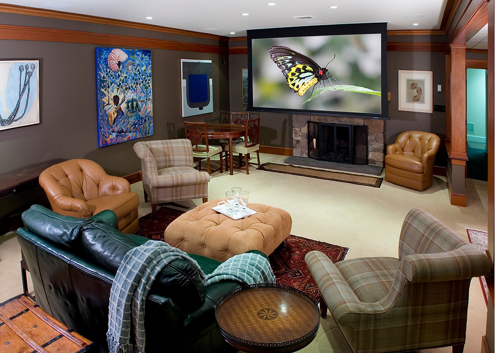 Media Room With Disappearing Projection Screen in New Jersey