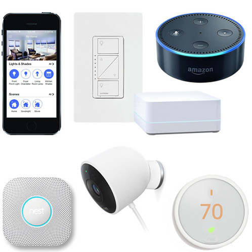 Diy smart home starter kit with sonos works with nest lutron alexa smart home do it yourself home automation package with nest e thermostat lutron caseta wireless solutioingenieria Gallery